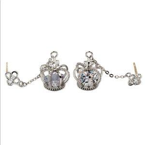 Mini crown pendant crystal earrings